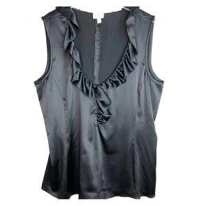 Armani Collezioni Silk Black Sleeveless Blouse
